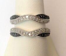 White Gold Solitaire Enhancer Black White 0.66ct Diamonds Ring Guard Wrap Gold