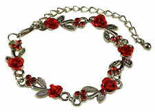 SILVER TONE RED METAL ROSE AND  CRYSTAL BRACELET