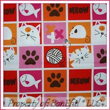 BonEful FABRIC FQ Cotton Quilt Red Pink Meow Word Kitty Cat Fish Paw Print Block