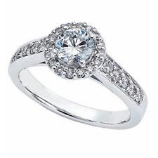 1.20 Ct Round Halo Cut Size 7 14K White Gold Moissanite Diamond Engagement Ring