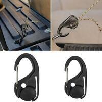 2pc Cord Tightener Lightweight Tie-Down Rope Carabiner Tent Tool Hook Lanyard