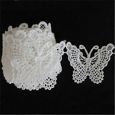 1M Vintage White Butterfly Lace Edge Trim Ribbon Applique Sewing Crafts Wedding