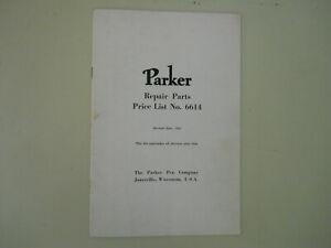 Parker Vintage Repair Price List  1946--12 pages  #6614