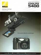 NIKON brochure pub. NIKON Coolpix 5400. édition 03/2004/C. en français