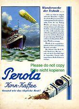 Corn coffee Perola Franck Linz Austrian 1928 ad Zeppelin advertising steamboat