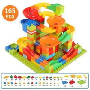165Pcs Kids Marble Run Race Set Railway Building Blocks Maze Ball Track Gift