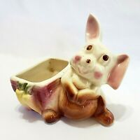 Vintage Bunny Planter 40s Ceramic Easter Rabbit Floral Container Funny & Cute
