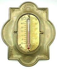 Vintage Italian Brass Patina Thermometer Celsius Fahrenheit Reaumur