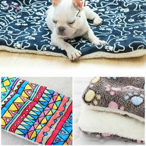 Pet Mat Paw Print Cat Dog Puppy Fleece Mattres Cushion Bed Blanket Warm Soft UK