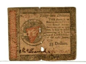 """$55 """"OLD COLONIAL"""" 1779  RARE! """"OLD COLONIAL"""" $55  1779 """"RED OVERPRINT"""" RARE!!!"""
