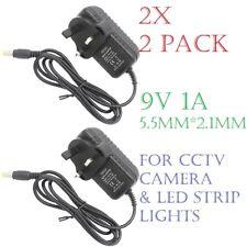 (2x) 9 V 1 A DC Adaptateur Chargeur Alimentation UK Plug Pour CCTV Caméra/Lumière DEL