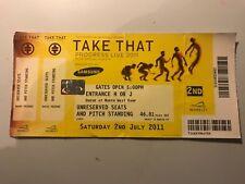 TAKE THAT CONCERT TICKET, 2/7/2011 LONDON WEMBLEY STADIUM