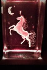 3D MAGICAL UNICORN  REARS AT MOON CRYSTAL STARS HORSE Laser+4 LIGHT NEW GIFT BOX