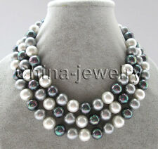 """52"""" longer 12mm white gray black perfect round south sea shell pearl necklace -"""
