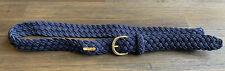 Lauren Ralph Lauren Belt Navy Woven Stretch Cord Nylon Gold Buckle Hardware Logo
