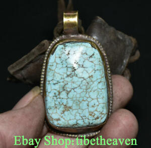 """3.4"""" Rare Collect Old Tibetan Brass Turquoise Buddhism Flower Amulet Pendant"""
