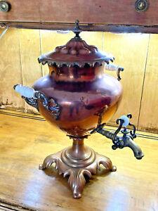 "Antique British Samovar Copper Hot Water Tea Pot Brass Spigot Ceramic Handle 18"""