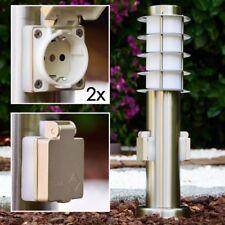Sockelleuchte mit 2 Steckdosen Edelstahl Wege Lampen Garten Aussen Stehleuchten