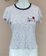 b00e208e46 Topshop Embroidered Love Affair Tshirt Size 10 Floral Stripe Tee Top  Lettuce Hem