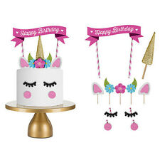 Unicorn Cake Topper Floral Decor Kids Baby Shower Birthday Party Cupcake Flags