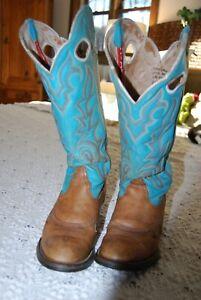 Tony Lama Buckaroo Boots Women 8.5 B Turquoise/Brown/Beige Cowgirl RR2002L