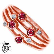 Anillos de joyería con gemas de oro rosa de rubí
