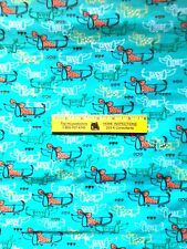 CUTE  DACHSHUNDS  WITH  BOWS   COTTON  FLANNEL   By the Yard