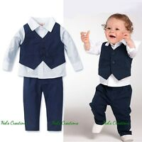 Baby Boy Formal Suit Tuxedo Christening Wedding Shirt+ Vest+ Pants Set Size 0-5