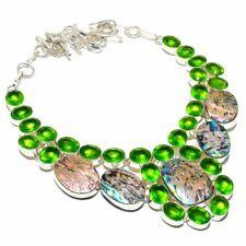 "Abalone Shell, Peridot Gemstone Handmade Ethnic Jewelry Necklace 18"""