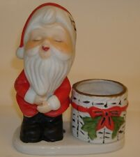 Vintage 1978 Jasco Porcelain Kissing Santa Claus Christmas Luvkin Candle Holder