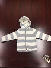 Burts Bees Baby Toddler Jacket 12M Ivory & Gray Stripe Alphabet Reversible Coat