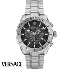 Versace VERG00518 Casual Chrono schwarz silber Edelstahl Armband Uhr Herren NEU