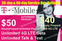 1st & 2nd Month Preloaded TMobile $50 Unlimited 4G & $40 10GB SIM Cards
