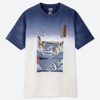 UT limited Ukiyoe Graphic T-shirt Blue  Fujisan Fujiyama Hokusai Edo