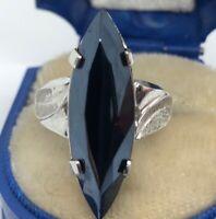 Vintage Sterling Silver Ring 925 Size 5 Signed Espo Esposito Black Stone