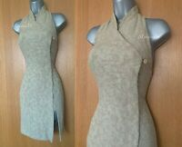 Karen Millen UK 10 Beige Jacquard Halterneck Oriental Style Party Mini Dress 38