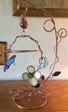 Stained Glass Decorative BRASS STAND BUTTERFLIES AND FLOWERS SHINY AND COLORFUL