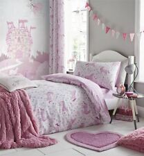 UNICORNS FLOWERS LEAVES WHITE PINK COTTON BLEND DOUBLE DUVET COVER