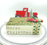 Stamped Stacked Books Merry Christmas Handmade Holiday Vintage Decor