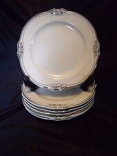 "SET of 6 - Homer Laughlin VIRGINIA ROSE Silver Trim SALAD PLATES - 8 1/4"""