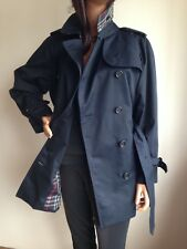 BURBERRY Womens Medium UK 14-16 (USA 12) Short Navy Trench Coat Jacket Raincoat