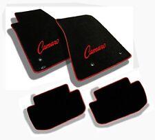 NEW! 1967-1969 Camaro Floor Mats Black Set Carpet Embroidered Logo Red Binding 4