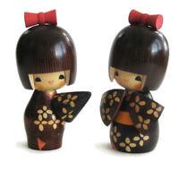 2 Japanese Kokeshi Doll Signed 5.25 Girls Wood Umbrella Kimono Sosaku Vintage