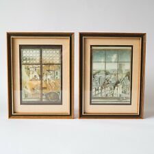 Vintage framed ILLUSTRATION PRINTS Juan Wijngaard St Michael M&S Cityscape Urban