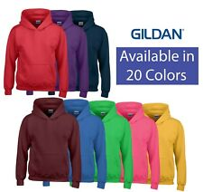 Gildan Heavy Blend Youth Hooded Sweatshirt Kids Jumper Boys Girls Sweat Pouch