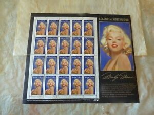 """Sheet of 1995 Marilyn Monroe stamps 1st in series of USPS """"Legends of Hollywood"""""""