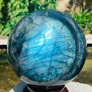9.37LB Natural Labradorite Quartz sphere Crystal Ball reiki Healing.
