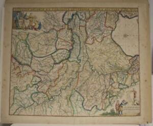 GELDERLAND & ZUTPHEN NETHERLANDS 1680 DE WIT UNUSUAL ANTIQUE COPPER ENGRAVED MAP