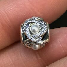 NEW Genuine Pandora Charm 792105WCP Luminous Love Knot Pouch CZ Pearl Bead
