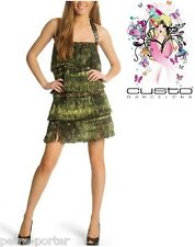 480€ CUSTO BARCELONA. Vestido Flecos Charleston L/42. Fringe Dress.Vestito.Robe